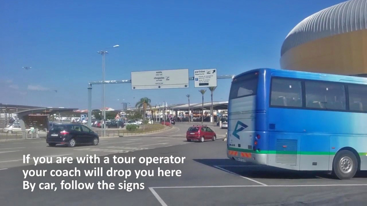Coach tour drop off zone at Faro Airport (FAO)