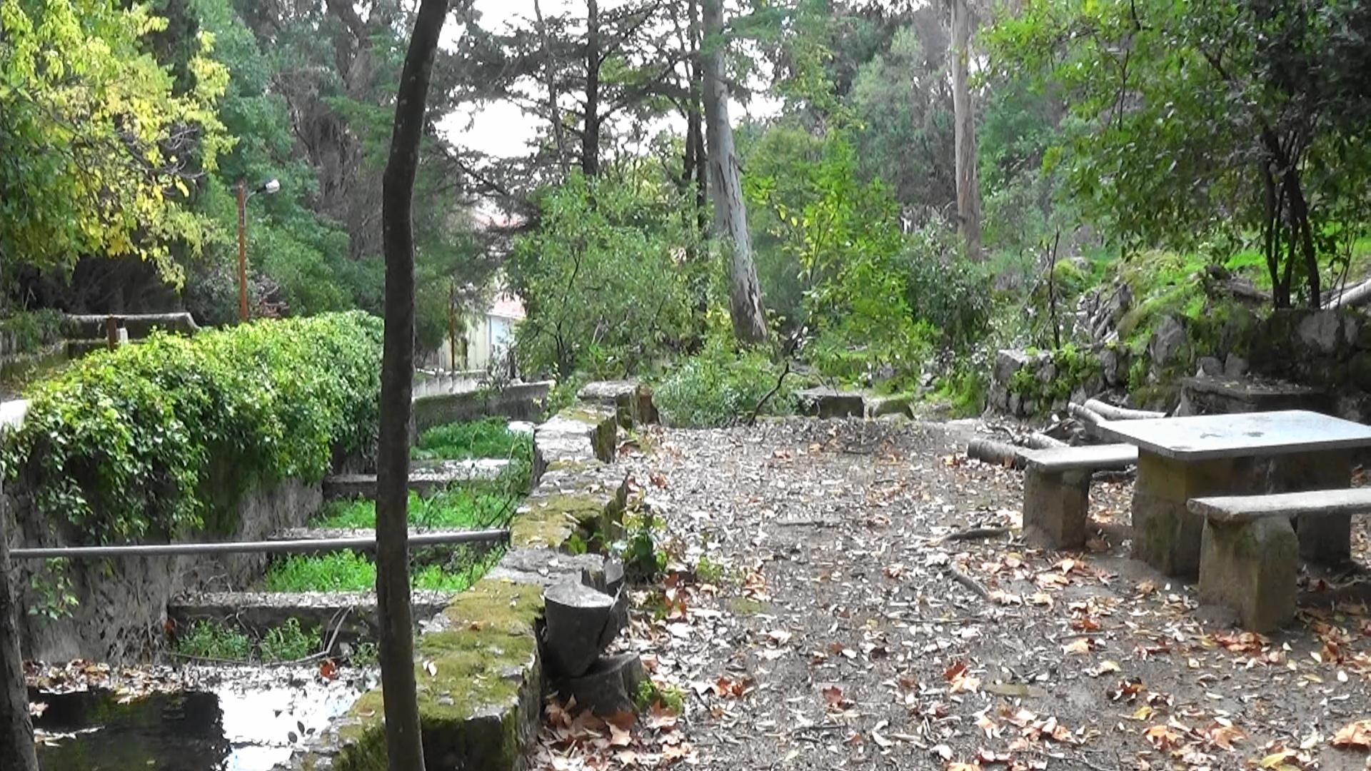 picnic tables made of stone at Cladas de Monchique